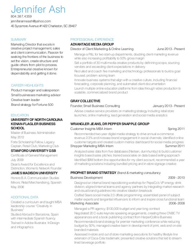 jenn ash director of marketing resume