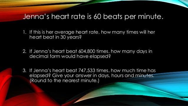 jenna u2019s heart rate is 60 beats per minute