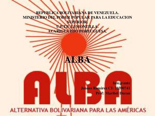 REPUBLICA BOLIVARIANA DE VENEZUELA.MINISTERIO DEL PODER POPULAR PARA LA EDUCACIONSUPERIOR.U.P.T.P. J.J MONTILLA.ACARIGUA E...