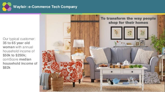 2 Wayfair: e-Commerce Tech Company Our typical customer: 35 to 65 year old woman with annual household income of $50k to $...