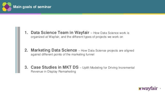 4 Main goals of seminar 1. Data Science Team in Wayfair – How Data Science work is organized at Wayfair, and the different...