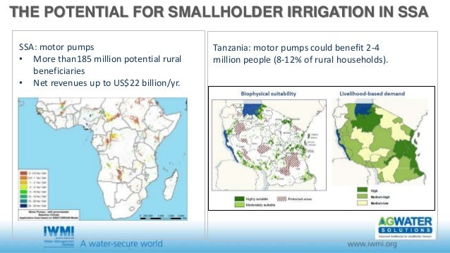 THE POTENTIAL FOR SMALLHOLDER IRRIGATION IN SSA SSA: motor pumps • More than185 million potential rural beneficiaries • Ne...