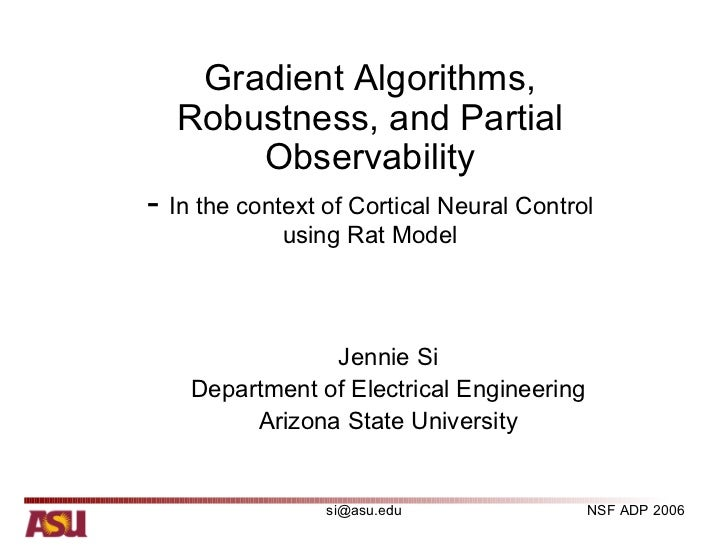 Gradient Algorithms,  Robustness, and Partial      Observability- In the context of Cortical Neural Control             us...