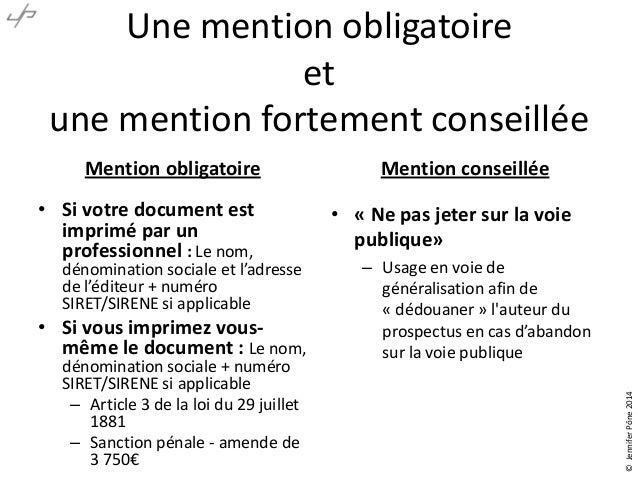 flyers obligations legales
