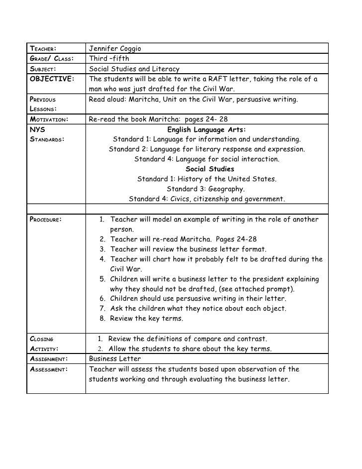 TEACHER:        Jennifer Coggio GRADE/ CLASS:   Third –fifth SUBJECT:        Social Studies and Literacy OBJECTIVE:      T...