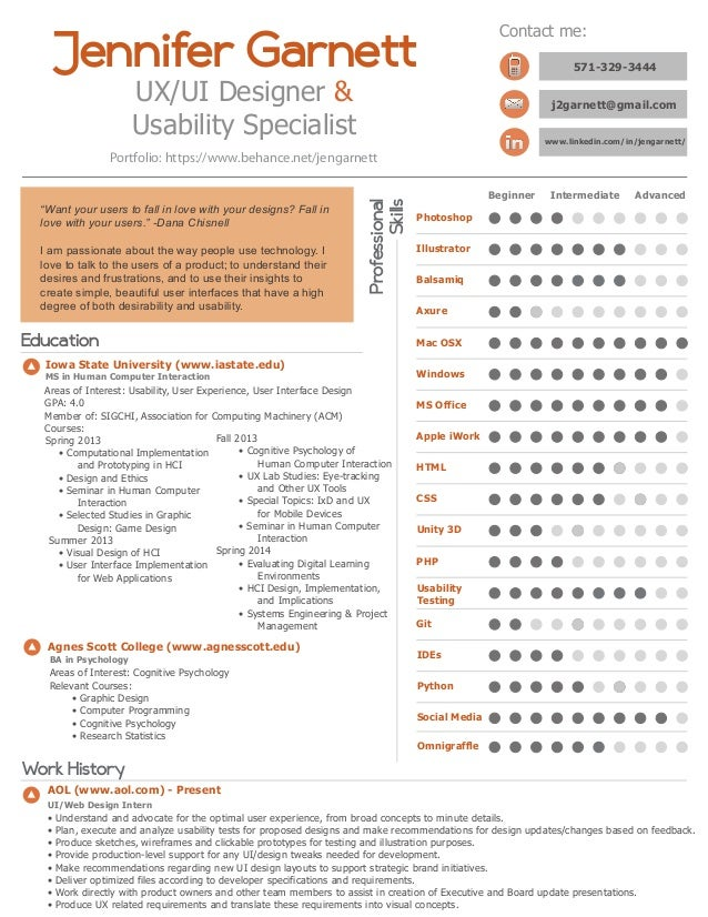 Elegant UX/UI Designer U0026 Usability Specialist Jennifer Garnett Professional Skills  Beginner Intermediate Advanced Photoshop Educat ... Within Ux Designer Resume