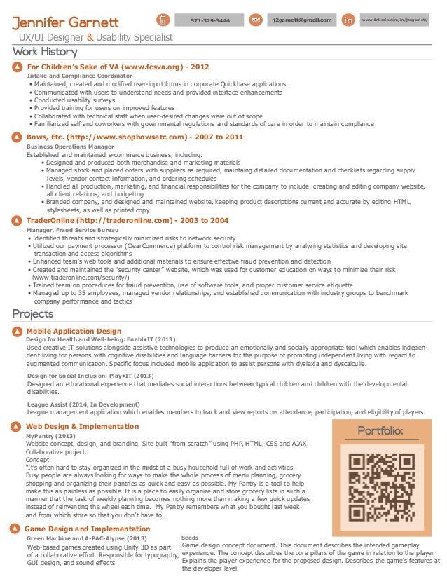 jennifer garnett resume  ui  ux designer