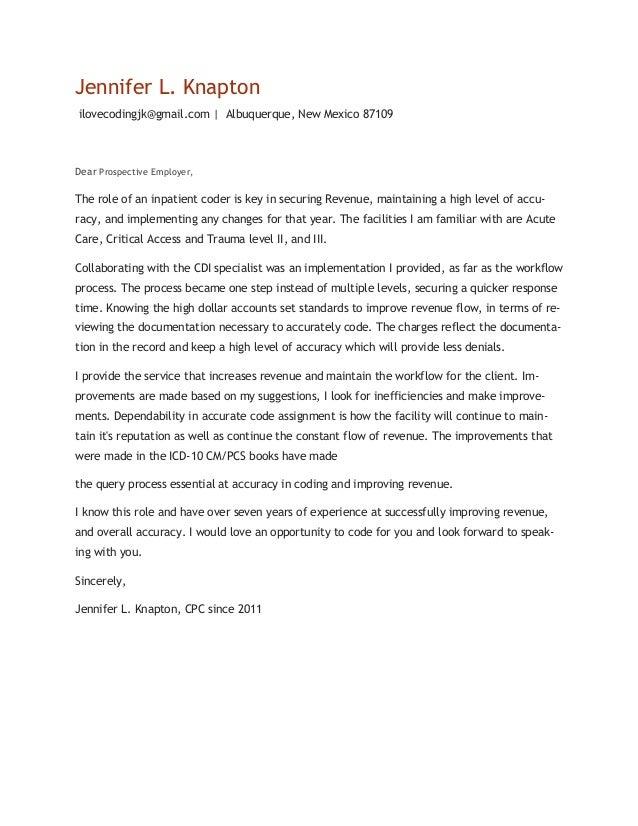 Jennifer Knapton Resume With Cover Letter. Jennifer L. Knapton  Ilovecodingjk@gmail.com | Albuquerque, New Mexico 87109 Dear ...