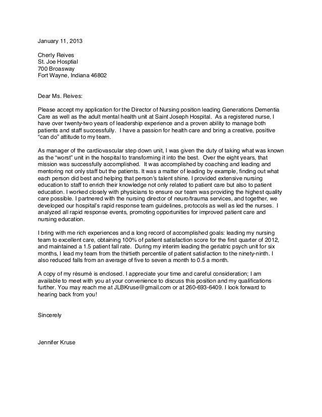 Attractive Jennifer Kruse Cover Letter 3. January 11, 2013Cherly ReivesSt. Joe  Hosptial700 BroaswayFort Wayne, Indiana 46802Dear Ms. Reives