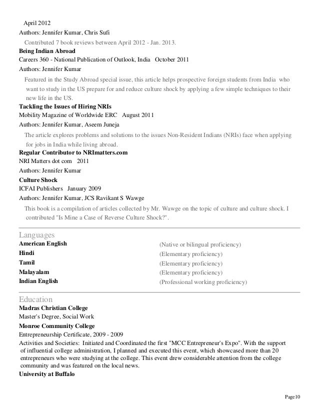 jennifer kumar resume professional experience