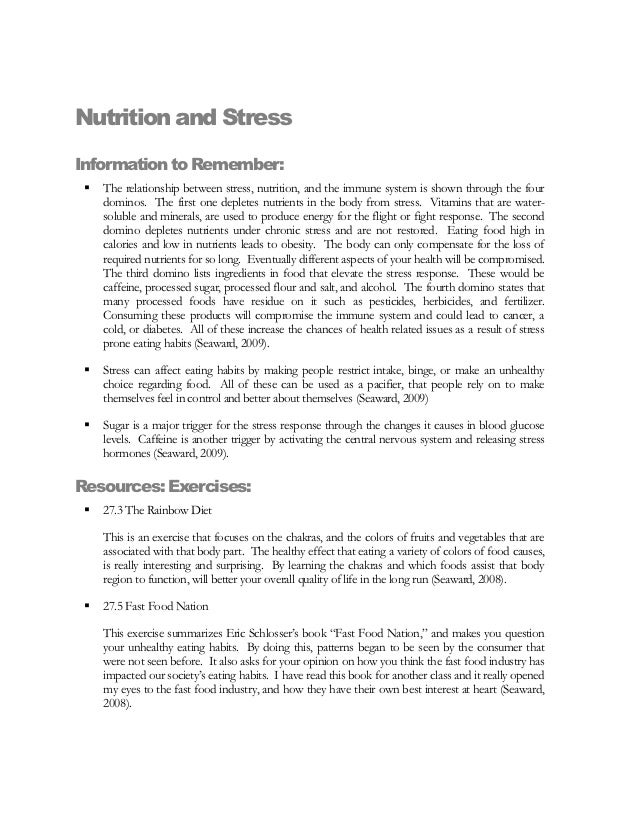 Nutrition and StressInformation to Remember:    The relationship between stress, nutrition, and the immune system is show...