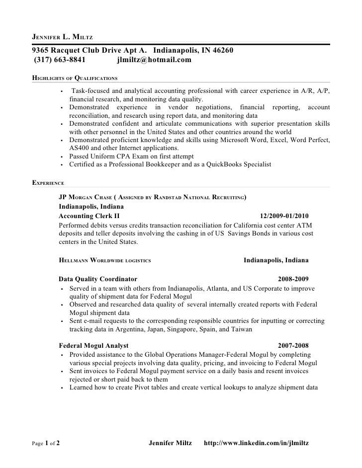 Jennifer Miltz Accounting Resume