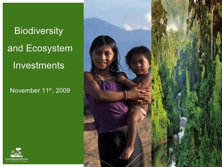 Biodiversity  and Ecosystem Investments  November 11 th , 2009