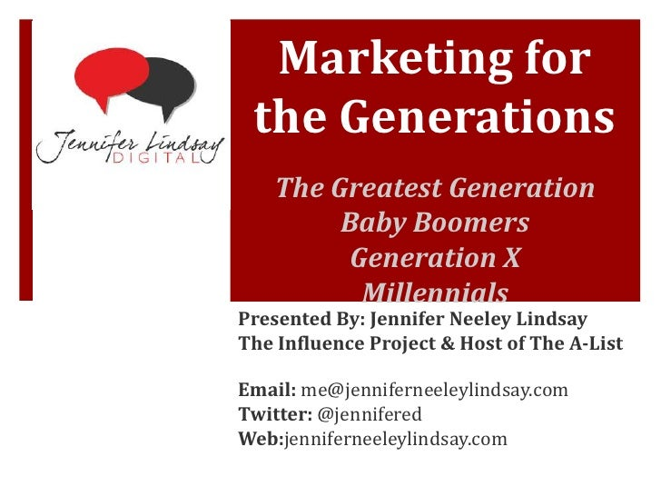 Marketing for the Generations    The Greatest Generation         Baby Boomers         Generation X          MillennialsPre...