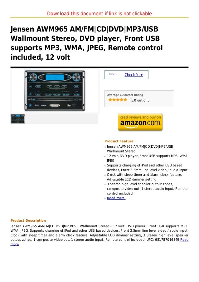 Download this document if link is not clickableJensen AWM965 AM/FM|CD|DVD|MP3/USBWallmount Stereo, DVD player, Front USBsu...