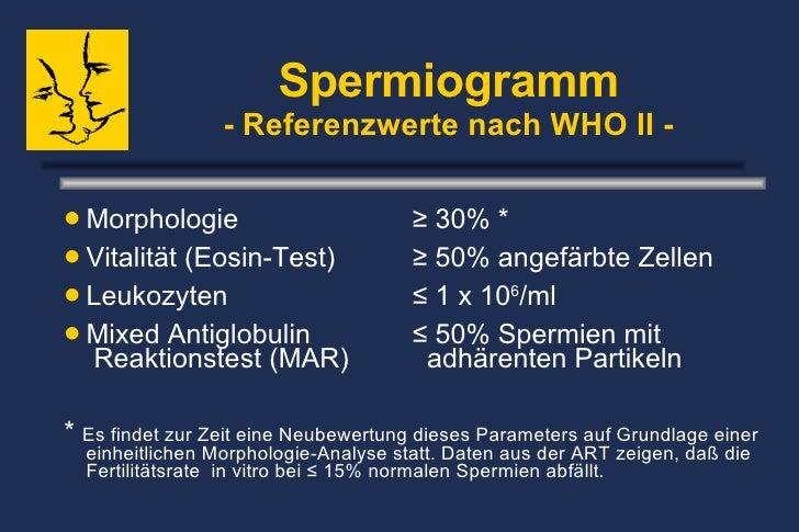 Spermiogramm - Referenzwerte nach WHO II - <ul><li>Morphologie ≥ 30% * </li></ul><ul><li>Vitalität (Eosin-Test) ≥ 50% ange...