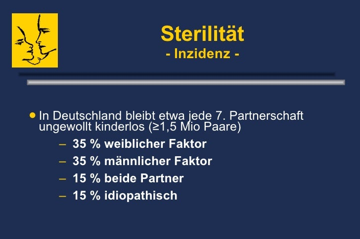 Sterilität - Inzidenz - <ul><li>In Deutschland bleibt etwa jede 7. Partnerschaft ungewollt kinderlos (≥1,5 Mio Paare) </li...