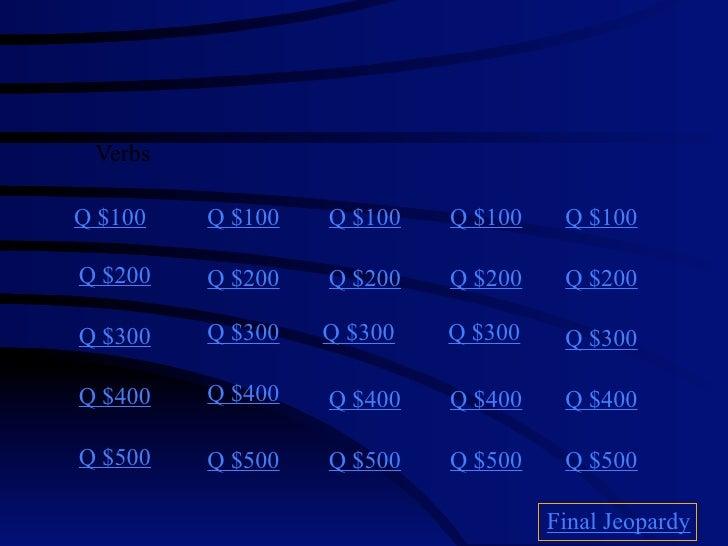 Verbs  Q $100   Q $100   Q $100   Q $100    Q $100  Q $200   Q $200   Q $200   Q $200    Q $200  Q $300   Q $300   Q $300 ...