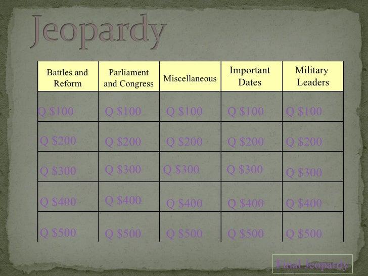 Battles and  Reform Parliament and Congress Miscellaneous Military  Leaders Q $100 Q $200 Q $300 Q $400 Q $500 Q $100 Q $1...