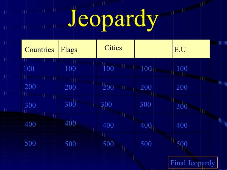 Jeopardy Countries Flags Cities E.U 100 200 300 400 500 100 100 100 100 200 200 200 200 300 300 300 300 400 400 400 400 50...