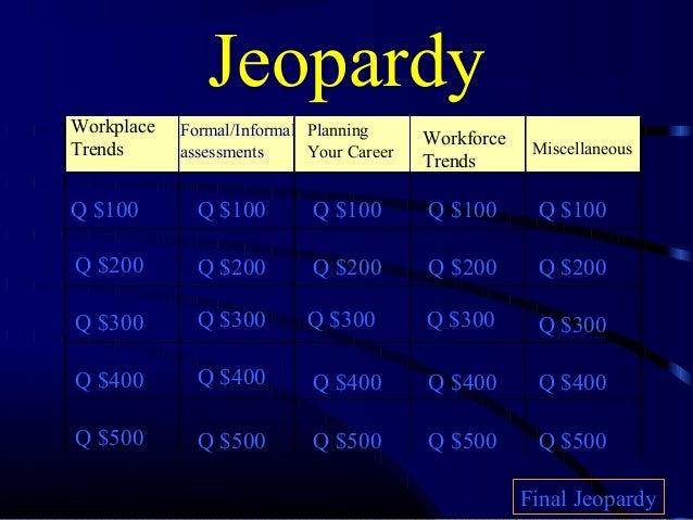 JeopardyWorkplace   Formal/Informal Planning      WorkforceTrends      assessments     Your Career                Miscella...