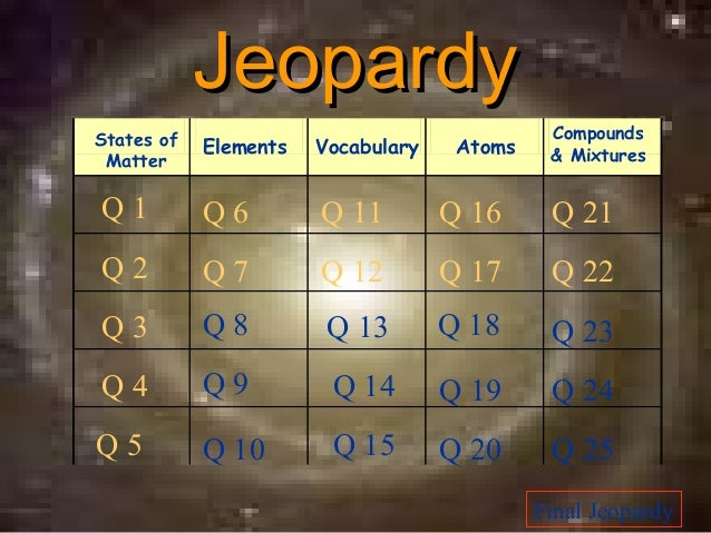 JeopardyStates of                                     Compounds            Elements   Vocabulary    Atoms    & Mixtures Ma...