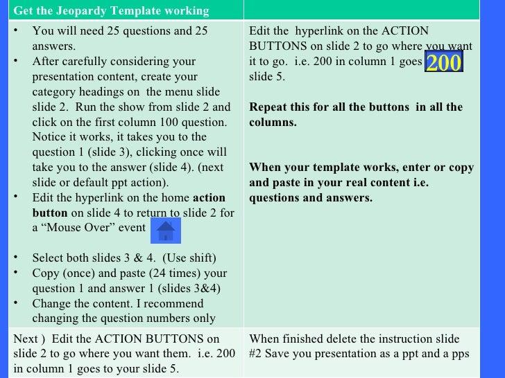 Instructions  200 Get the Jeopardy Template working <ul><li>You will need 25 questions and 25 answers. </li></ul><ul><li>A...