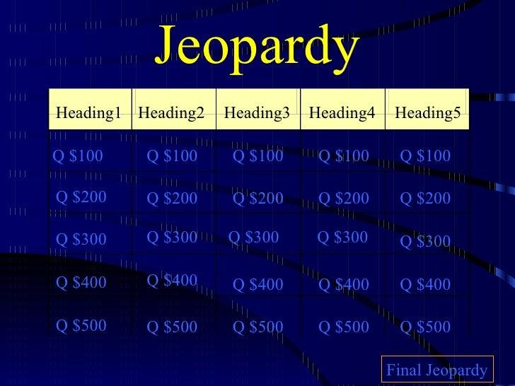 Jeopardy Heading1 Heading2 Heading3 Heading4 Heading5 Q $100 Q $200 Q $300 Q $400 Q $500 Q $100 Q $100 Q $100 Q $100 Q $20...