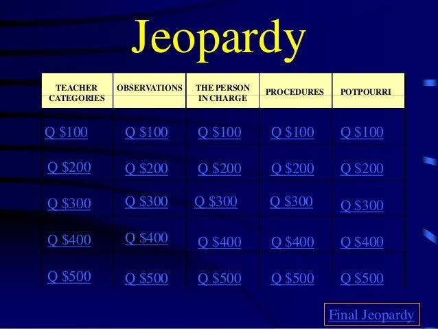 Jeopardy TEACHER CATEGORIES OBSERVATIONS THE PERSON IN CHARGE PROCEDURES Q $100 Q $200 Q $300 Q $400 Q $500 Q $100 Q $100Q...