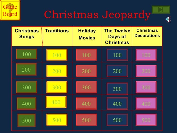 Christmas Jeopardy.Jeopardy Christmas