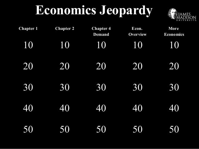 Economics Jeopardy Chapter 1 Chapter 2 Chapter 4 Demand Econ. Overview More Economics 10 10 10 10 10 20 20 20 20 20 30 30 ...