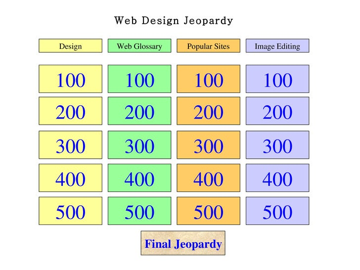 Web Design Jeopardy 100 200 300 400 500 100 200 300 400 500 100 200 300 400 500 100 200 300 400 500 Design Web Glossary Po...
