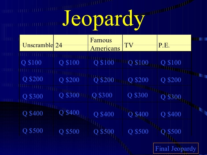 Jeopardy Unscramble 24 Famous  Americans TV P.E. Q $100 Q $200 Q $300 Q $400 Q $500 Q $100 Q $100 Q $100 Q $100 Q $200 Q $...