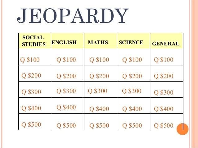 JEOPARDYSOCIALSTUDIES   ENGLISH   MATHS    SCIENCE   GENERALQ $100     Q $100   Q $100    Q $100   Q $100Q $200     Q $200...