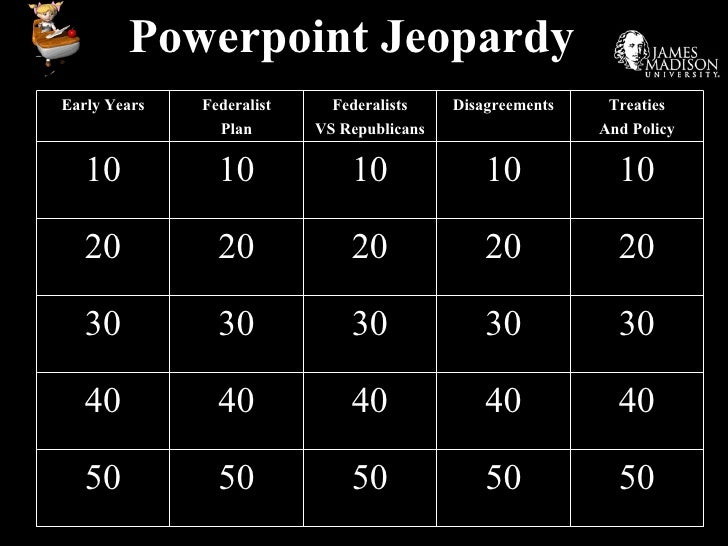 Powerpoint Jeopardy Early Years Federalist Plan Federalists VS Republicans Disagreements Treaties And Policy 10 10 10 10 1...