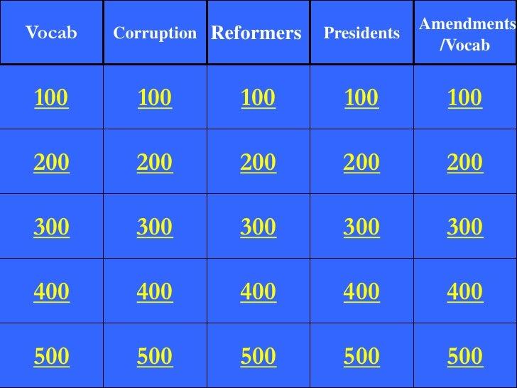 Amendments Vocab   Corruption Reformers   Presidents                                               /Vocab   100       100 ...