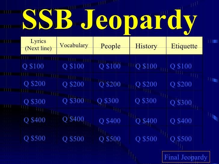 SSB Jeopardy Lyrics (Next line) Vocabulary People Etiquette Q $100 Q $200 Q $300 Q $400 Q $500 Q $100 Q $100 Q $100 Q $100...