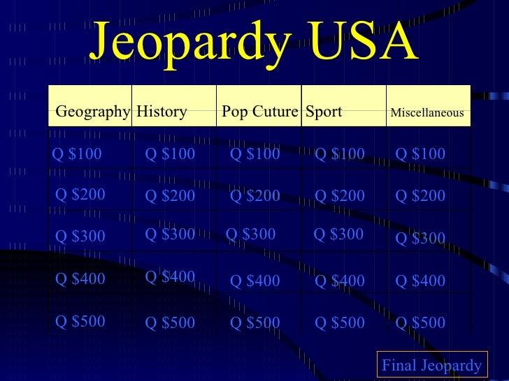 Jeopardy USA Geography History Pop Cuture Sport Miscellaneous Q $100 Q $200 Q $300 Q $400 Q $500 Q $100 Q $100 Q $100 Q $1...