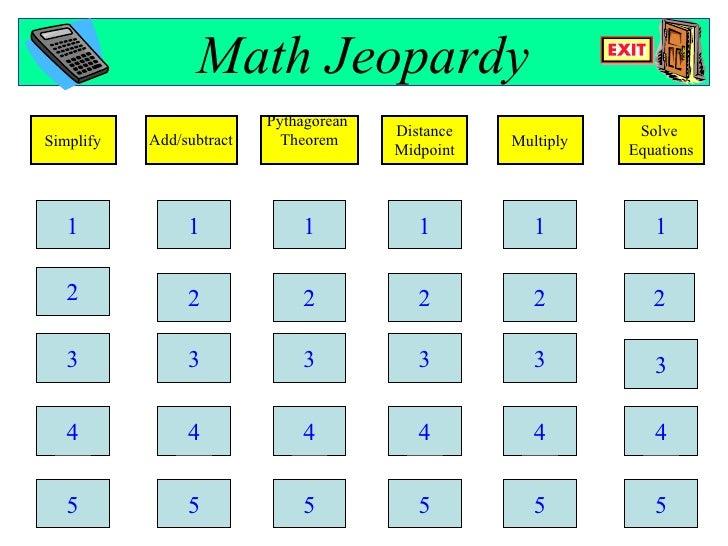 Radical Jeopardy with answer key