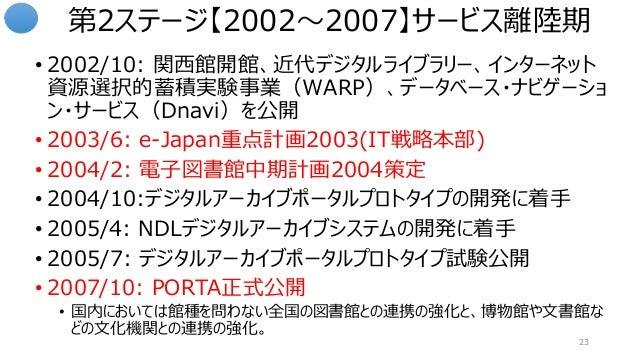 第2ステージ【2002~2007】サービス離陸期 • 2002/10: 関西館開館、近代デジタルライブラリー、インターネット 資源選択的蓄積実験事業(WARP)、データベース・ナビゲーショ ン・サービス(Dnavi)を公開 • 2003/6: ...