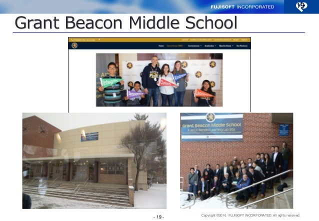 Copyright ©2016 FUJISOFT INCORPORATED, All rights reserved. Grant Beacon Middle School 19 - 19 -