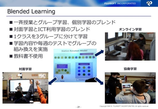 Copyright ©2016 FUJISOFT INCORPORATED, All rights reserved. Blended Learning 一斉授業とグループ学習、個別学習のブレンド 対面学習とICT利用学習のブレンド 1ク...
