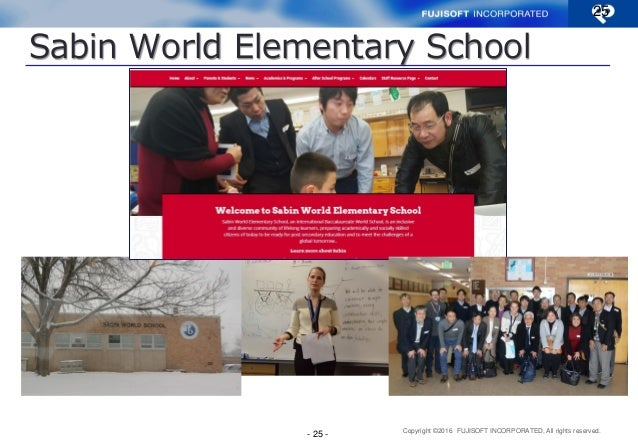 Copyright ©2016 FUJISOFT INCORPORATED, All rights reserved. Sabin World Elementary School 25 - 25 -