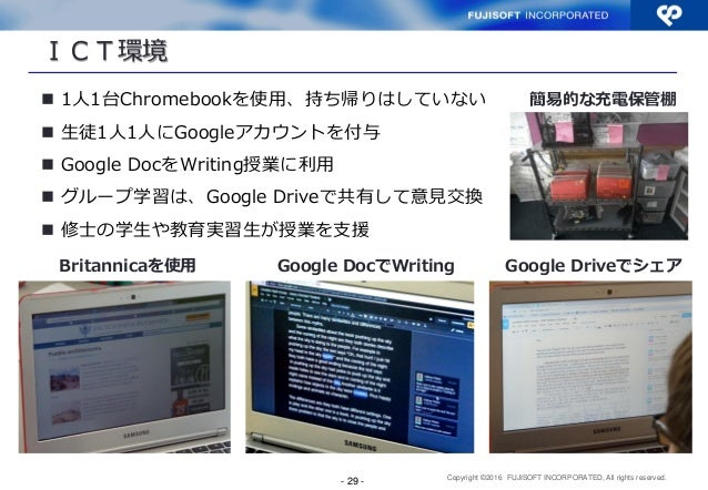 Copyright ©2016 FUJISOFT INCORPORATED, All rights reserved. ICT環境  1人1台Chromebookを使用、持ち帰りはしていない  生徒1人1人にGoogleアカウントを付与 ...