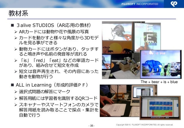 Copyright ©2016 FUJISOFT INCORPORATED, All rights reserved. The + bear + is + blue - 35 -  3alive STUDIOS(AR応用の教材)  ARカー...