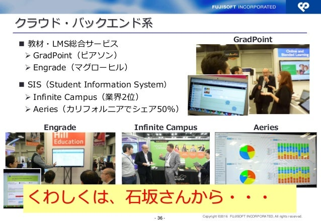 Copyright ©2016 FUJISOFT INCORPORATED, All rights reserved. - 36 -  教材・LMS総合サービス  GradPoint(ピアソン)  Engrade(マグローヒル)  SI...