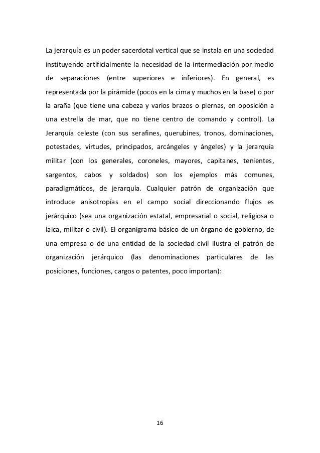 16 La jerarquía es un poder sacerdotal vertical que se instala en una sociedad instituyendo artificialmente la necesidad d...