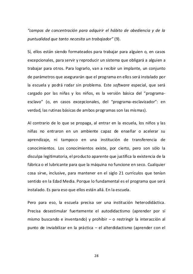 """28 """"campos de concentración para adquirir el hábito de obediencia y de la puntualidad que tanto necesita un trabajador"""" (9..."""