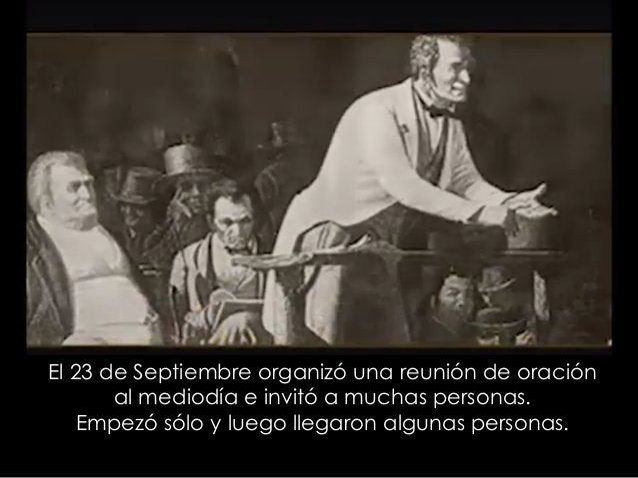 El 23 de Septiembre organizó una reunión de oración al mediodía e invitó a muchas personas. Empezó sólo y luego llegaron a...