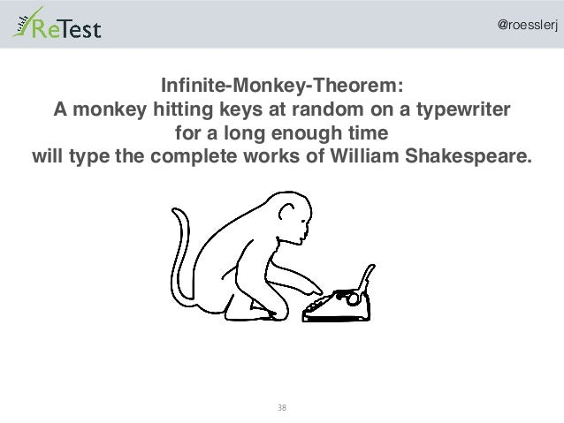 @roesslerj 38 Infinite-Monkey-Theorem: A monkey hitting keys at random on a typewriter for a long enough time will type the...
